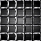 Metallic squares on perforated texture background Stock Photo