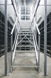 Metallic stair. Perspective of metallic industrial steel stair Stock Image