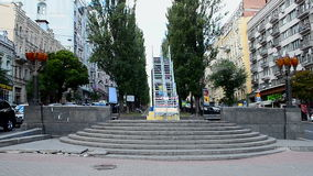 Metallic staircase near the statue of Lenin monument destroyed in December, 2013, stock video footage
