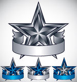 Metallic star label with blank banner. Royalty Free Stock Photo