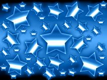 Metallic stars background. Blue metallic stars background with glow and shadows Royalty Free Stock Photo