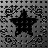 metallic stars texture with ornament frame Royalty Free Stock Photos