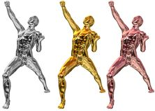 Metallic statue in gold,silver. Statues in gold,silver and bronce in winning pose Stock Illustration