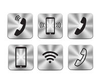 Metallic steel communication icons. With symbol wi-fi tablet and telephone handset Stock Photos
