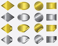 Metallic Stickers. A collection of metallic gold & silver stickers in unique shapes not commonly seen among stickers Stock Photos