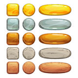 Metallic, stone and wooden buttons set. Isolated elements for game or web design Stock Image