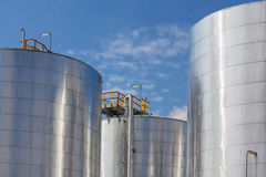 Metallic storage tanks Stock Photos