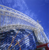 Metallic structure. Detail on blue sky. Seville Expo building architectural detail Stock Photos