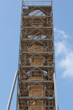 Metallic structure around an ancient column in Rethymnon Stock Photo