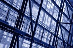 Metallic structure in a modern building facade royalty free stock photos