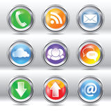 Metallic stylish modern communication icon set Royalty Free Stock Photo