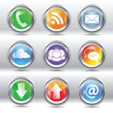 Metallic stylish modern communication icon set. Vector set of metallic stylish modern communication icons/labels for web and print usage Royalty Free Stock Photo