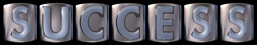 Metallic success word. Metallic blue silver success word realistic 3d rendered on black background Stock Image