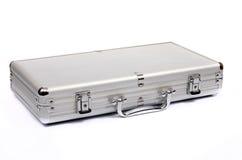 Metallic suitcase on white background, metalic briefcase Royalty Free Stock Photo