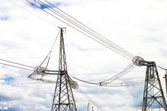 Metallic support of transmission lines Stock Photos