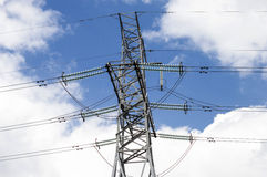Metallic support of transmission lines Royalty Free Stock Photo