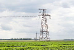 Metallic support of transmission lines Stock Photography