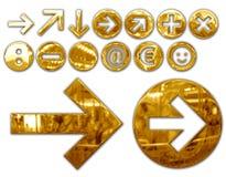 Metallic symbols. Various metallized gold symbols, graphic elaboration vector illustration