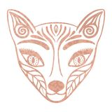 Metallic tattoo Rose gold foil texture Ornate fox face mask, Japanese mythological creature Kitsune, Decorative totem animal in tr Stock Photography