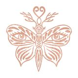 Metallic tattoo Rose gold foil texture Ornate fantasy butterfly with antlers and eyes Decorative totem animal in tribal boho style Stock Photography