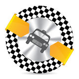 Metallic taxi badge with checkered background Royalty Free Stock Image