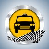 Metallic taxi badge design. With checkered ribbon Stock Photo