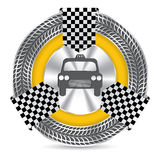 Metallic taxi badge design with tire tread Royalty Free Stock Images