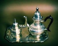 Metallic tea-service Stock Photo