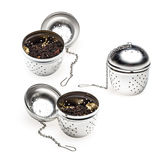 Metallic tea strainer infuser Royalty Free Stock Photos