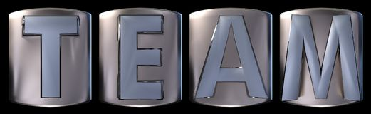 Metallic team word. Metallic blue silver team word realistic 3d rendered on black background Stock Photo