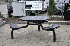 Metallic Terrace Table from Portsmouth in New Hampshire of USA Stock Photo