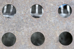 metallic texture and holes in it Stock Image
