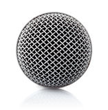 Metallic texture of microphone head. On white background Royalty Free Stock Images