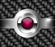 Metallic texture and pink glass button in the center. Royalty Free Stock Photo