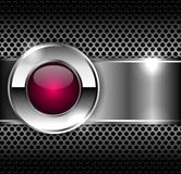 Metallic texture and pink glass button in the center. Royalty Free Stock Photos