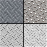 Metallic textures collection. 4 metallic detailed textures. Stainless steel Royalty Free Stock Photos