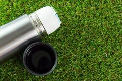 Metallic thermos flask Royalty Free Stock Photos