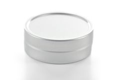Metallic tin on white background. Royalty Free Stock Photos