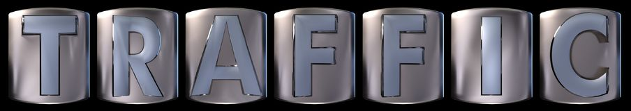 Metallic traffic word. Metallic blue silver traffic word realistic 3d rendered on black background Stock Photography
