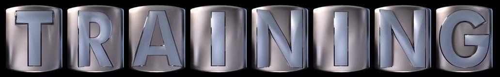 Metallic training word. Metallic blue silver training word realistic 3d rendered on black background Stock Image