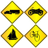 Metallic transport signs set. Isolated objects over white background Stock Photos
