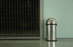 Metallic Trash Container Royalty Free Stock Photography