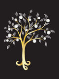 Metallic tree with pearls Stock Photography