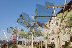 Metallic trees close to the palace Euskalduna royalty free stock photography