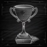 Metallic trophy cup. First place winner award. Icon of gold champions cup. Illustration on chalkboard. Vector cup. Hand drawn trophy Royalty Free Stock Photos