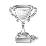 Metallic trophy cup_03_04. Metallic trophy cup first place winner award. Vector Champions Cup Icon. Illustration on  background. Hand drawn trophy. Eps 8 Stock Photo