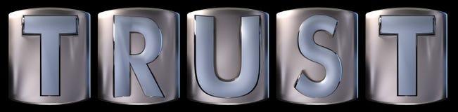 Metallic trust word. Metallic blue silver trust word realistic 3d rendered on black background Royalty Free Stock Photo