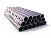 Metallic tubes. 3d rendered metallic tubes isolated on white Stock Photo