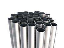 Metallic tubes - industrial background Stock Photo
