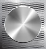Metallic tuner. Metallic disc on perforated grey technology background Stock Images